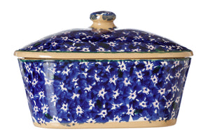 Covered Butterdish Lawn Dark Blue Nicholas Mosse Pottery handcrafted spongeware