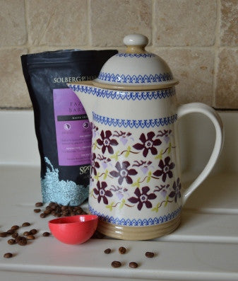 Coffee pot Clematis spongeware pottery by Nicholas Mosse Pottery - Ireland - Handmade Irish Craft