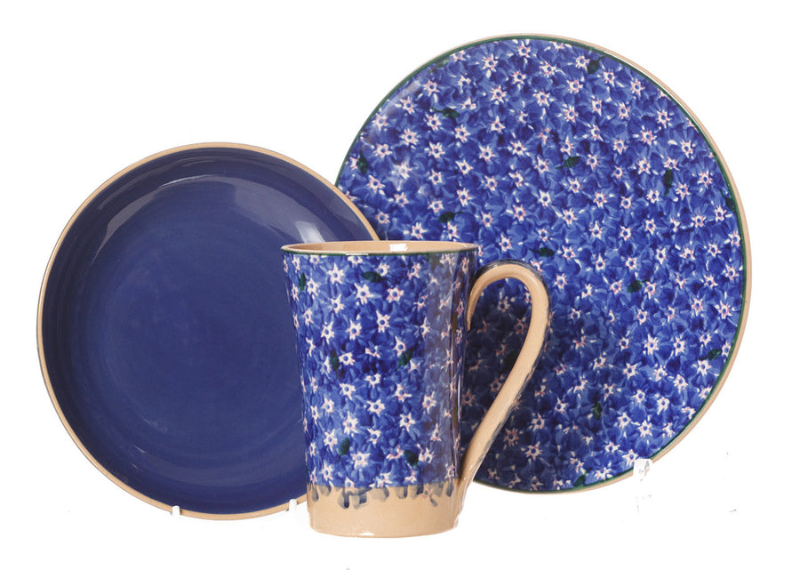 Everyday Bowl, Everyday Plate & Tall Mug Dark Blue Lawn spongeware pottery by Nicholas Mosse Pottery - Ireland - Handmade Irish Craft
