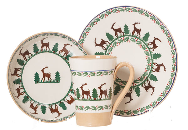 Everyday Bowl, Everyday Plate & Tall Mug Reindeer spongeware pottery by Nicholas Mosse Pottery - Ireland - Handmade Irish Craft