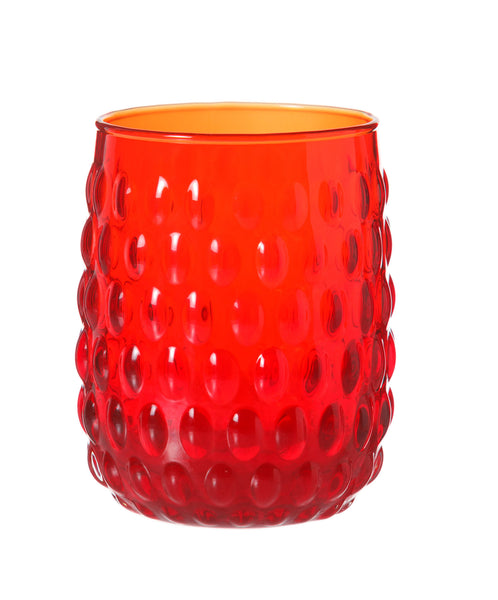 Red Glass Hobnail Tumbler