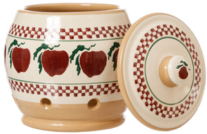 Garlic Jar Apple withe Lid at side Nicholas Mosse Pottery handcrafted spongeware Ireland