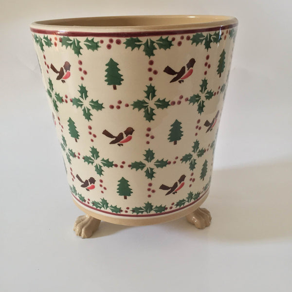 Nicholas Mosse Medium Footed Plant Pot Winter Robin