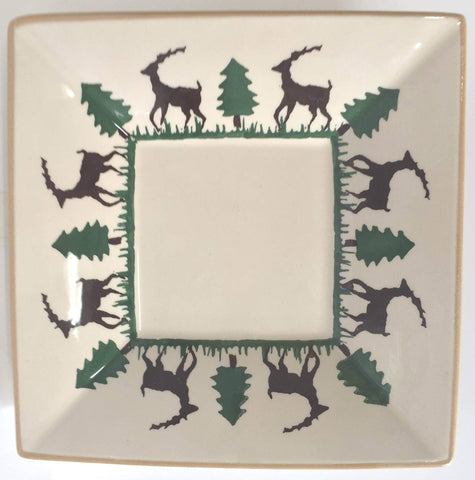 SMALL SQUARE PLATE REINDEER