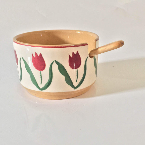 RELISH BOWL SINGLE RED TULIP WITH SPOON