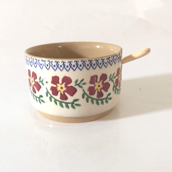RELISH BOWL SINGLE OLD ROSE WITH SPOON