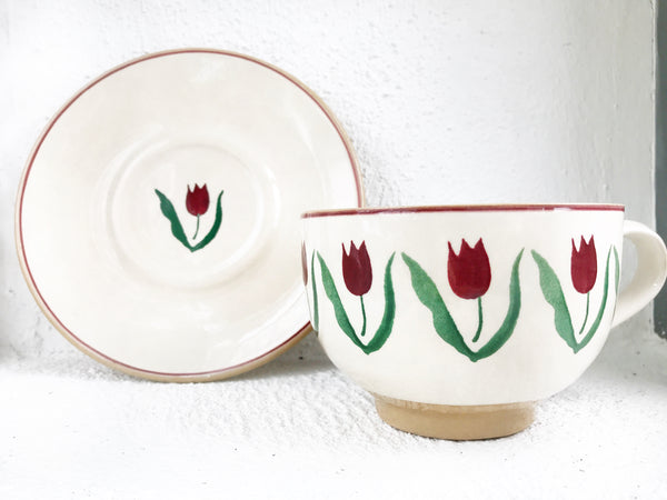 Cappuccino Cup And Saucer Red Tulip