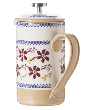 Large Cafetiere Coffee Pot Clematis 2 spongeware by Nicholas Mosse Pottery - Ireland - Handmade Irish Craft