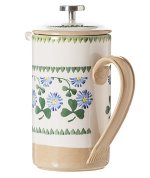 Large Cafetiere Coffee Pot Clover 2 spongeware by Nicholas Mosse Pottery - Ireland - Handmade Irish Craft