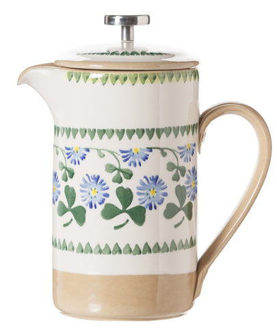 Large Cafetiere Coffee Pot Clover spongeware by Nicholas Mosse Pottery - Ireland - Handmade Irish Craft