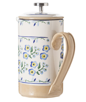 Large Cafetiere Coffee Pot Forget Me Not 2 spongeware by Nicholas Mosse Pottery - Ireland - Handmade Irish Craft