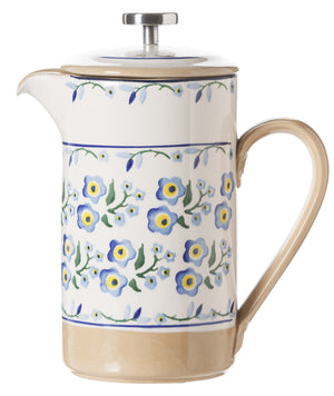Large Cafetiere Coffee Pot Forget Me Not spongeware by Nicholas Mosse Pottery - Ireland - Handmade Irish Craft