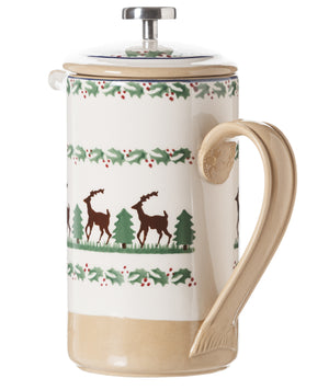 Large Cafetiere Coffee Pot Reindeer 2 spongeware by Nicholas Mosse Pottery - Ireland - Handmade Irish Craft