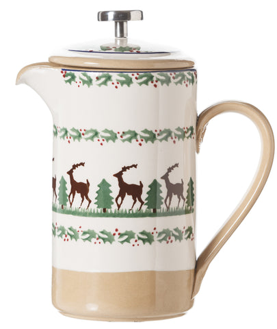 Large Cafetiere Coffee Pot Reindeer spongeware by Nicholas Mosse Pottery - Ireland - Handmade Irish Craft