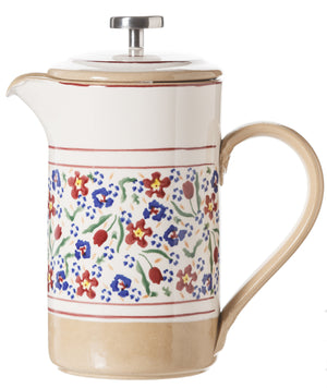 Large Cafetiere Coffee Pot Wild Flower Meadow spongeware by Nicholas Mosse Pottery - Ireland - Handmade Irish Craft