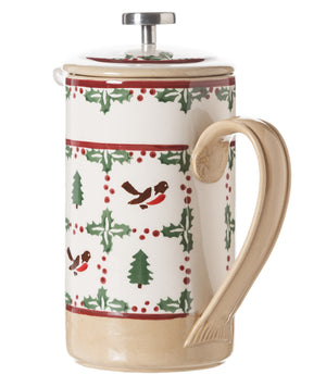 Large Cafetiere Coffee Pot Winter Robin 2 spongeware by Nicholas Mosse Pottery - Ireland - Handmade Irish Craft