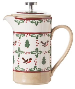 Large Cafetiere Coffee Pot Winter Robin spongeware by Nicholas Mosse Pottery - Ireland - Handmade Irish Craft
