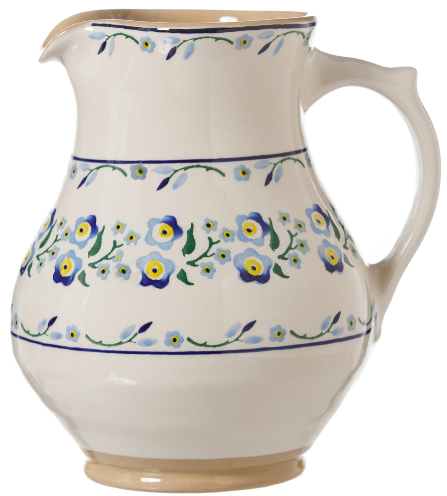 Large Jug Forget Me Not Nicholas Mosse Pottery handcrafted spongeware Ireland