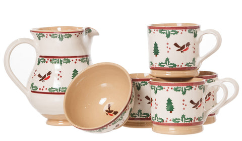 Large Rectangle Box Gift Set Winter Robin spongeware pottery by Nicholas Mosse Pottery - Ireland - Handmade Irish Craft