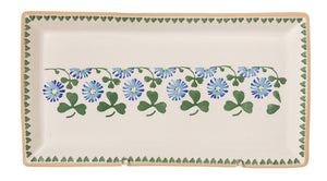 Large Rectangle Plate Clover spongeware by Nicholas Mosse Pottery - Ireland - Handmade Irish Craft.