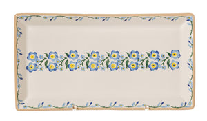 Large Rectangle Plate Forget Me Not spongeware by Nicholas Mosse Pottery - Ireland - Handmade Irish Craft.