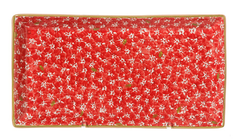 Large Rectangle Plate Lawn Red spongeware pottery by Nicholas Mosse Pottery - Ireland - Handmade Irish Craft.