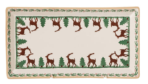 Large Rectangle Plate Reindeer spongeware by Nicholas Mosse Pottery - Ireland - Handmade Irish Craft.