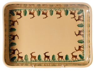 Large Rectangular Oven Dish Reindeer Inside view Nicholas Mosse Pottery handcrafted spongeware