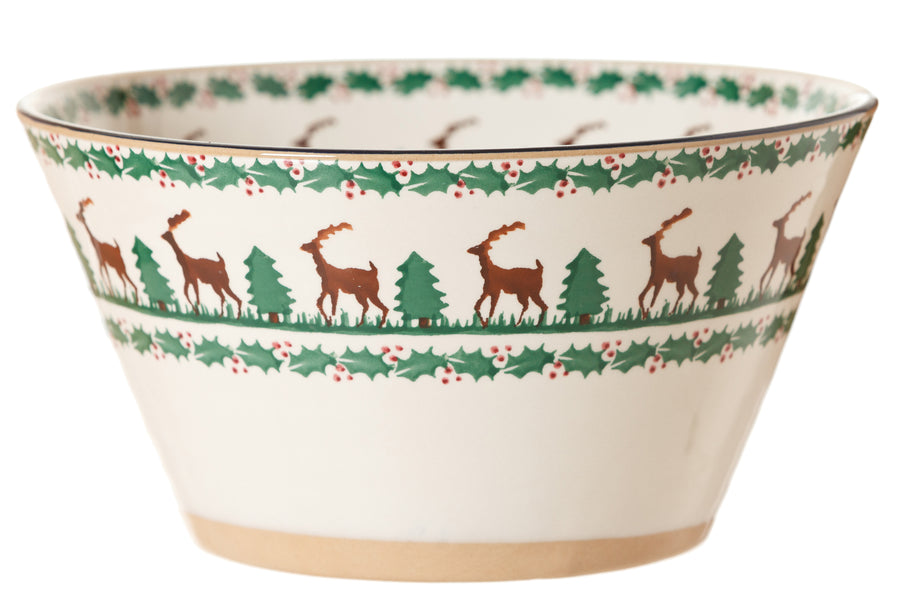 Large angle bowl Reindeer spongeware pottery by Nicholas Mosse Pottery - Ireland - Handmade Irish Craft