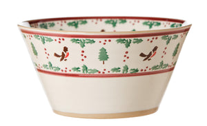 Large angle bowl Winter Robin spongeware pottery by Nicholas Mosse