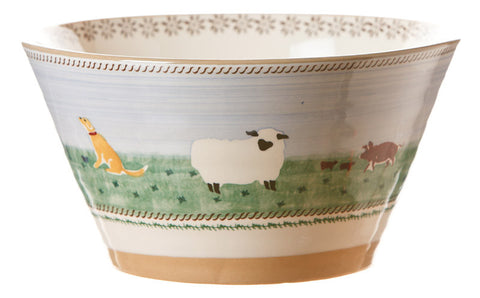 Large angled bowl Assorted Animals spongeware pottery by Nicholas Mosse Pottery - Ireland - Handmade Irish Craft