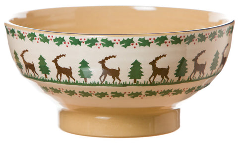 Large bowl Reindeer spongeware pottery by Nicholas Mosse Pottery - Ireland - Handmade Irish Craft