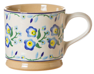 Large mug Forget Me Not spongeware pottery by Nicholas Mosse Pottery - Ireland - Handmade Irish Craft.