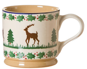Large mug Reindeer spongeware pottery by Nicholas Mosse Pottery - Ireland - Handmade Irish Craft.