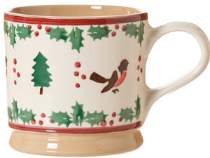 Nicholas Mosse Large Mug Winter Robin spongeware pottery by Nicholas Mosse Pottery - Ireland - Handmade Irish Craft