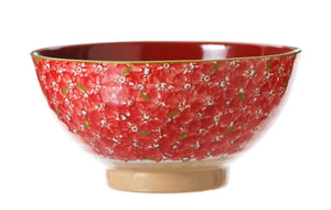 Lawn Red Vegetable Bowl  spongeware by Nicholas Mosse - Ireland - Handmade Irish Craft
