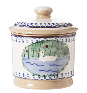 Lidded Sugar Bowl Duck spongeware by Nicholas Mosse Pottery - Ireland - Handmade Irish Craft