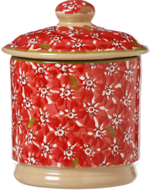 Lidded Sugar Bowl Lawn Red