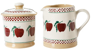 Lidded Sugar Bowl and Small Cylinder Jug Apple
