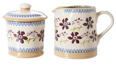 Lidded Sugar Bowl and Small Cylinder Jug Clematis by Nicholas Mosse Pottery - Ireland - Handmade Irish Craft
