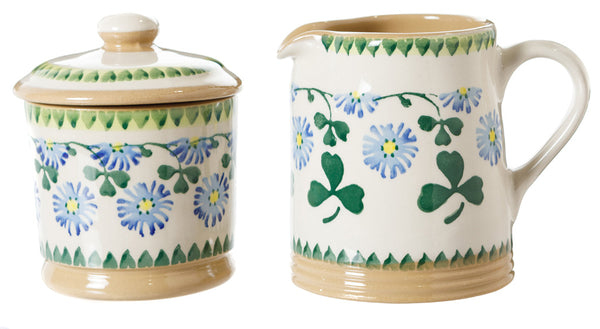 Lidded Sugar Bowl and Small Cylinder Jug Clover by Nicholas Mosse Pottery - Ireland - Handmade Irish Craft