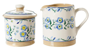 Lidded Sugar Bowl and Small Cylinder Jug Forget Me Not spongeware pottery by Nicholas Mosse, Ireland - Handmade Irish Craft - nicholasmosse.com