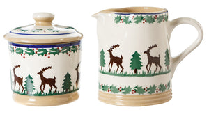 Lidded Sugar Bowl and Small Cylinder Jug Reindeer by Nicolas Mosse Pottery - Ireland - Handmade Irish Craft