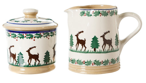 Lidded Sugar Bowl and Small Cylinder Jug Reindeer by Nicolas Mosse Pottery - Ireland - Handmade  sc 1 st  Nicholas Mosse : christmas tableware ireland - pezcame.com