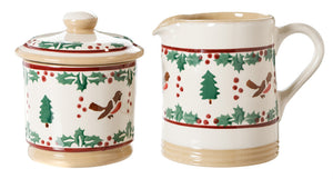 Lidded Sugar Bowl and Small Cylinder Jug Winter Robin spongeware pottery by Nicholas Mosse, Ireland - Handmade Irish Craft - nicholasmosse.com