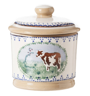 Lidded Sugar Cow spongeware by Nicholas Mosse Pottery - Ireland - Handmade Irish Craft