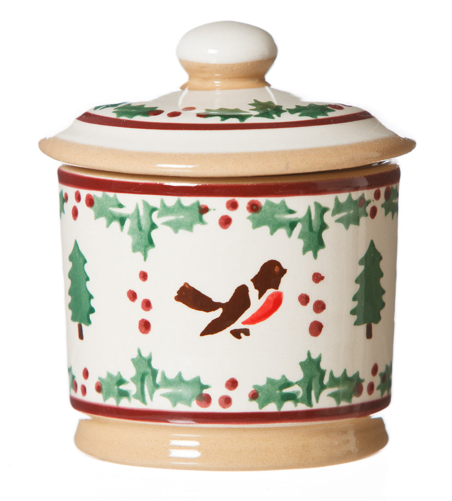 Lidded Sugar bowl Winter Robin spongeware pottery by Nicholas Mosse Pottery - Ireland - Handmade Irish Craft