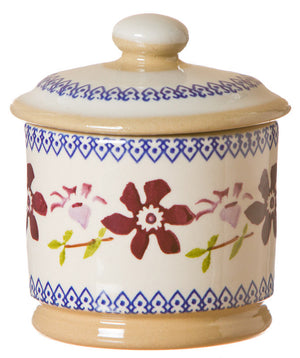 Lidded sugar bowl Clematis spongeware pottery by Nicholas Mosse Pottery - Ireland - Handmade Irish Craft.