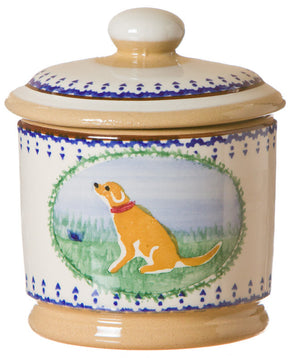 Lidded sugar bowl Dog spongeware pottery by Nicholas Mosse Pottery - Ireland - Handmade Irish Craft.