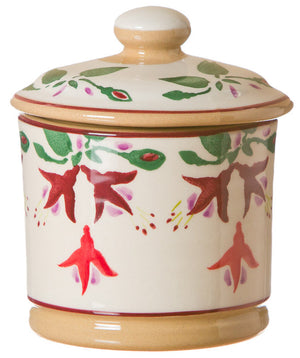 Lidded sugar bowl Fuchsia spongeware pottery by Nicholas Mosse Pottery - Ireland - Handmade Irish Craft.